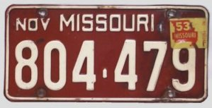 Missouri 1953 - first ever license plate validation sticker
